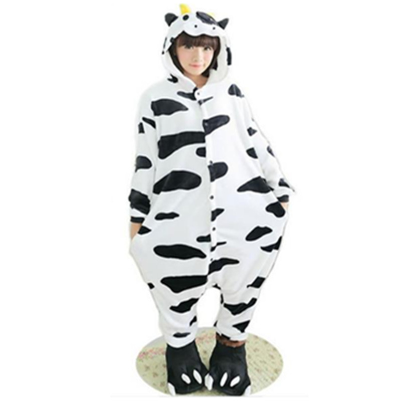 furry Lovely Adult Unisex Animals Lovely dairy milk cow Pajamas Onesie Sleepsuit Cosplay Sleepwear Cartoon Cow onesie nightwear