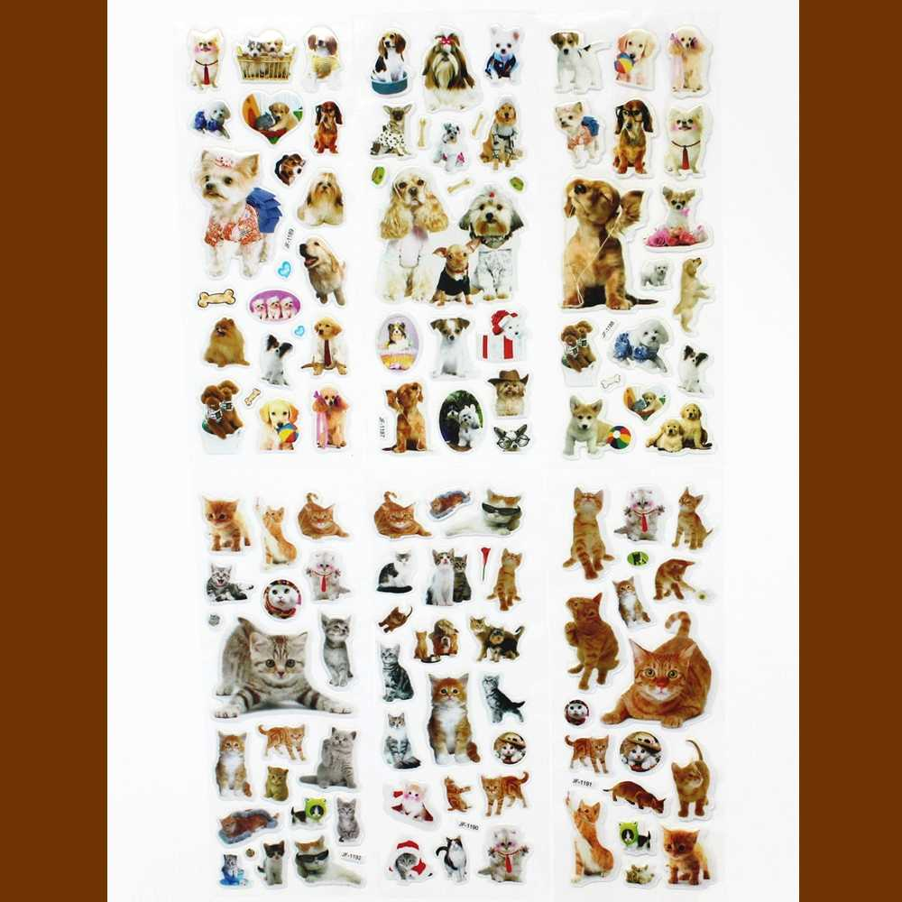 6 Sheets/set Pets Animals cat / dog Bubble Puffy Stickers Kawaii Emoji Reward Kids Children Toys Factory Direct Sales  ST02