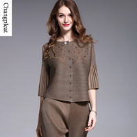 Changpleat Design bead woman Coat pleated Pleated 2017 summer loose thin solid 3/4 sleeve Short Women's jacket Plus Size Outwear