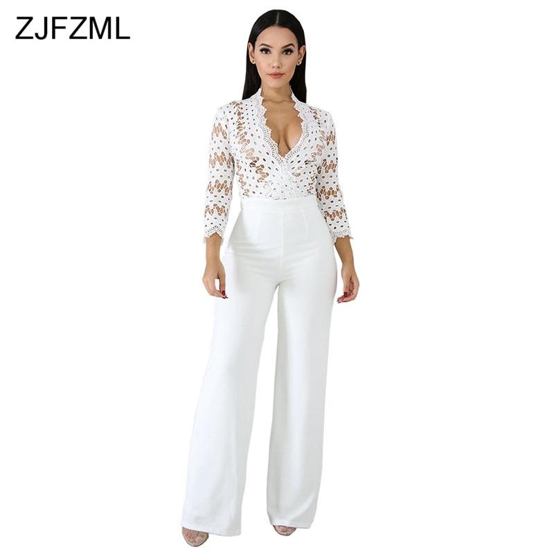7f2674b3b1cb Hollow Out Elegant Rompers Womens Jumpsuit White Deep V Neck Long Sleeve  Wide Leg Bodysuit Vintage