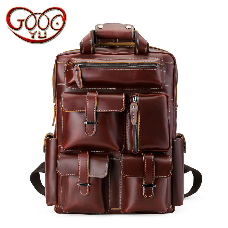 Europe and the United States wind multifunctional men 's shoulder bag leather travel bag first layer of avocado luggage bag back europe and the united states style first layer of leather lychee handbag fashion retro large capacity solid business travel bus