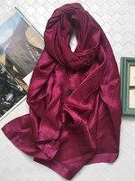 Нежный пустой Держатель 100% шелк женщин Роскошные шарф шаль пашмины 65x200 см однотонная атласная гладкая мягкая