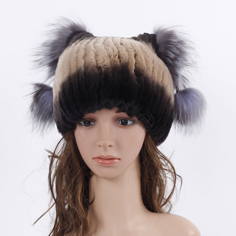 ФОТО The new high-quality Russia beanies fur hat for women knitted rex rabbit fur hat with sliver fox fur top free  size women's hat