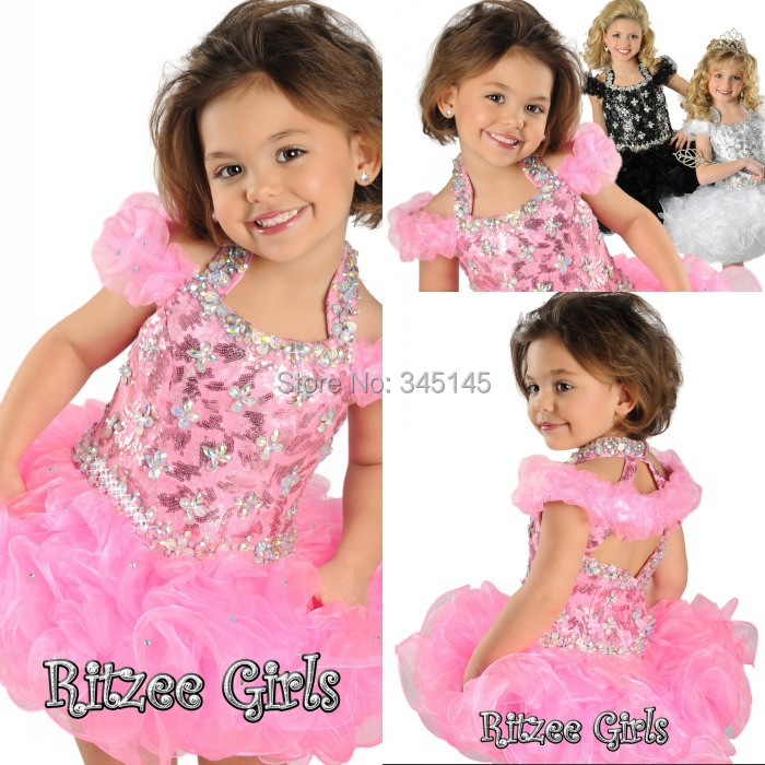 Top selling!Pretty charming Pink crystal halter ball gown   girl's   pageant   dresses   Mini Short   flower     girls  '   dresses   Short Sleeve