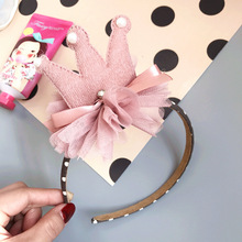 Korean New Girl Child Hair Band Ornament Simple Ribbon Crown Headwear Simple Hair Headband Accessories
