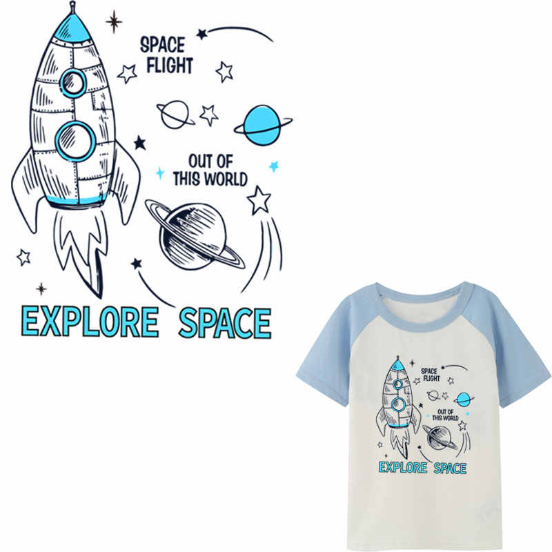 spacecraft iron on patches for children clothing heat transfer for boys clothes ironing stickers t-shirt diy patch parches ropa