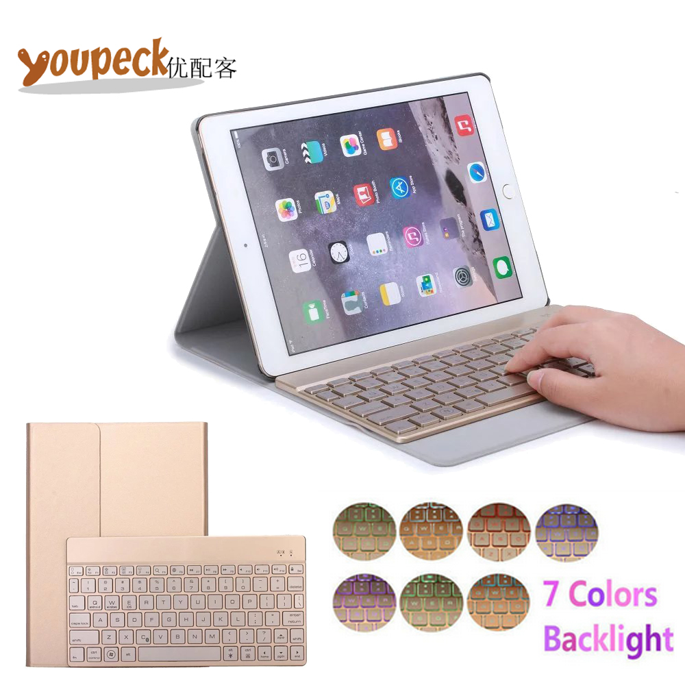ФОТО Ultra Thin Pu Leather Bluetooth Keyboard Case for Apple iPad Air 2 9.7'' Cover w/ 7 Colors Back light Wireless Bluetooth Keypad