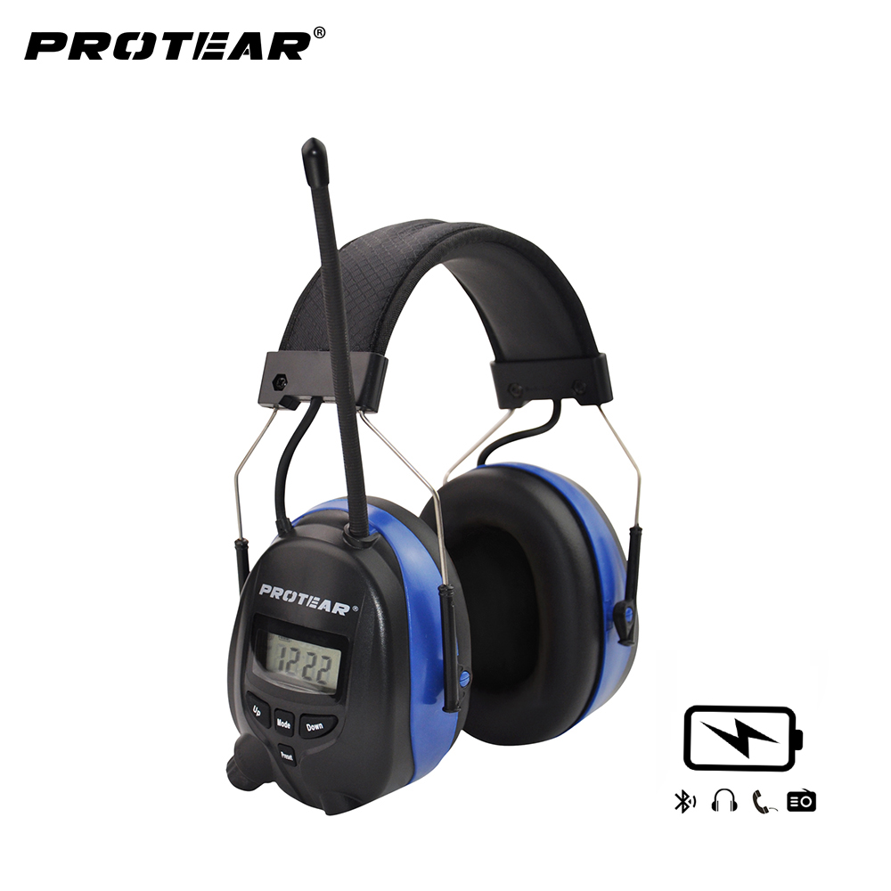 Protear Lithium Battery Bluetooth & Radio AM/FM Safety Ear Muffs NRR 25dB Hearing Protection Tactical Protector For Mowing