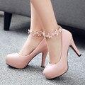 2017 Sexy Plataforma Stilettos Bombas Tobillo-Correa de La Manera Dulce Princesa de la Flor de Plataforma de Tacón Alto Zapatos de Las Mujeres de Novia De Color Rosa zapatos