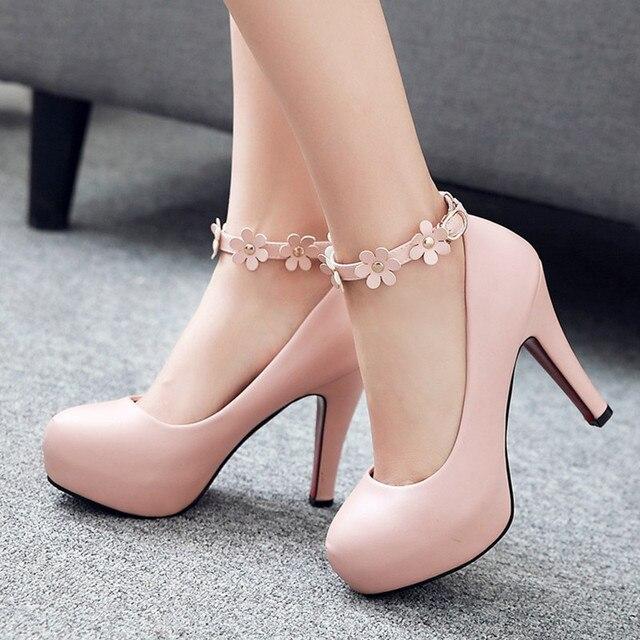 2017 Sexy Platform Pumps Fashion Ankle-Strap Stilettos Sweet Flower Princess High-Heeled Platform Shoes Women Pink Wedding Shoes