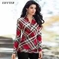 EIFFTER Autumn Winter Blouse 2016 New Fashion Ladies Female Cotton Lapel Long-Sleeve Plaid Shirt Women Slim Outerwear Tops 0066
