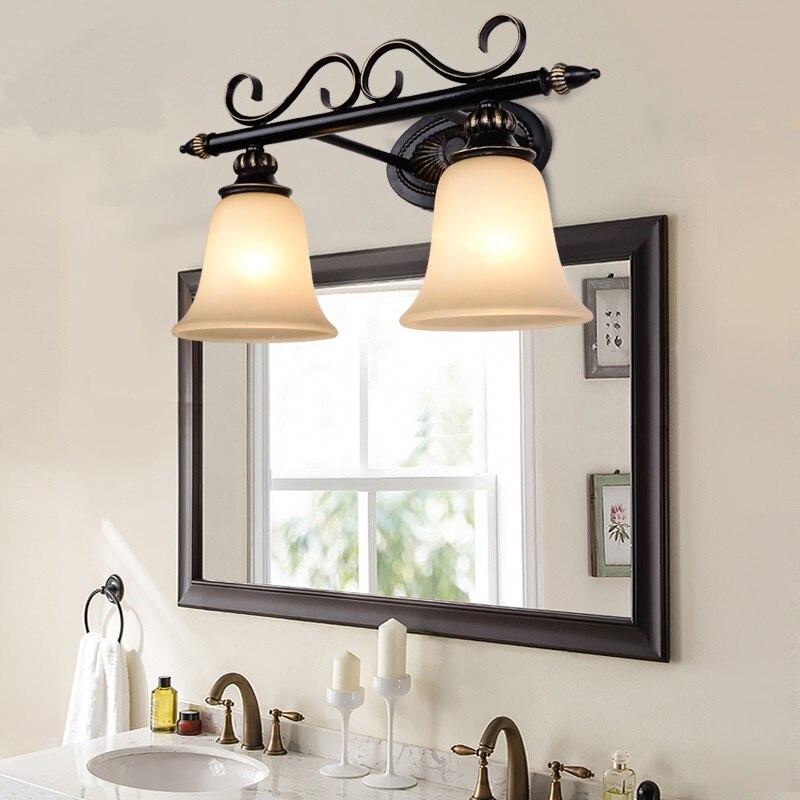 American retro bathroom bathroom mirror lamp European iron mirror double iron wall light glass lamp Wall Lamps FG11 цена 2017