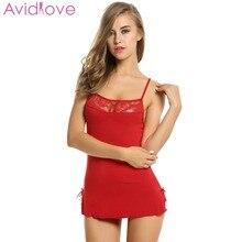 Avidlove Stretch Mini Dress Sleepwear Sexy Lace Nightgown Plus Size Cotton Nightwear For Women