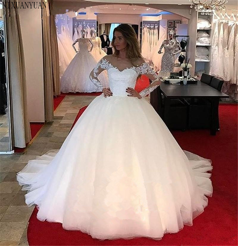 2020 Lace Latest Fashion Wedding Dresses Ball Gown Princess Brides Gown Ceremony Church Tulle Sheer Neck Wedding Gowns