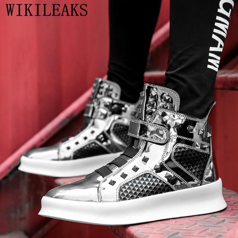 Inverno sapatos de couro homens de luxo da marca high top sneakers hip hop sapatos tenis masculino adulto preto prata chaussure homme cuir