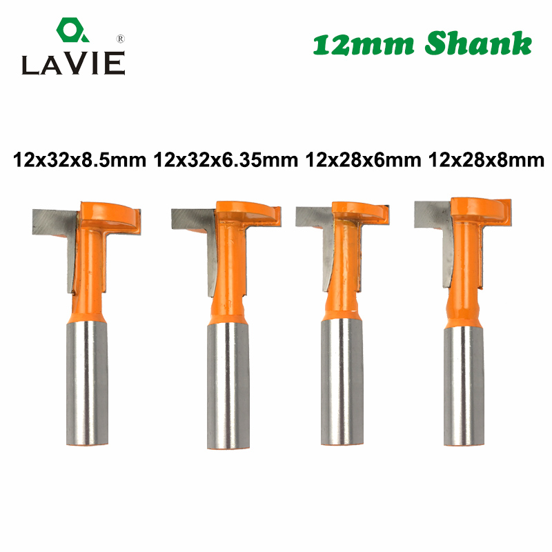 LAVIE 12mm Shank T-Slot Router Bit Milling Straight Edge Slotting Milling Cutter Slot Cutting Handle For Wood Woodwork MC05010