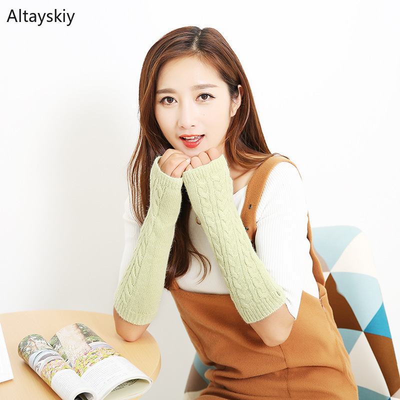 Arm Warmers Women Solid Thicker Winter Warm Half-fingered Knitted Rabbit Fur Wool Womens All-match Simple Leisure Trendy Kawaii