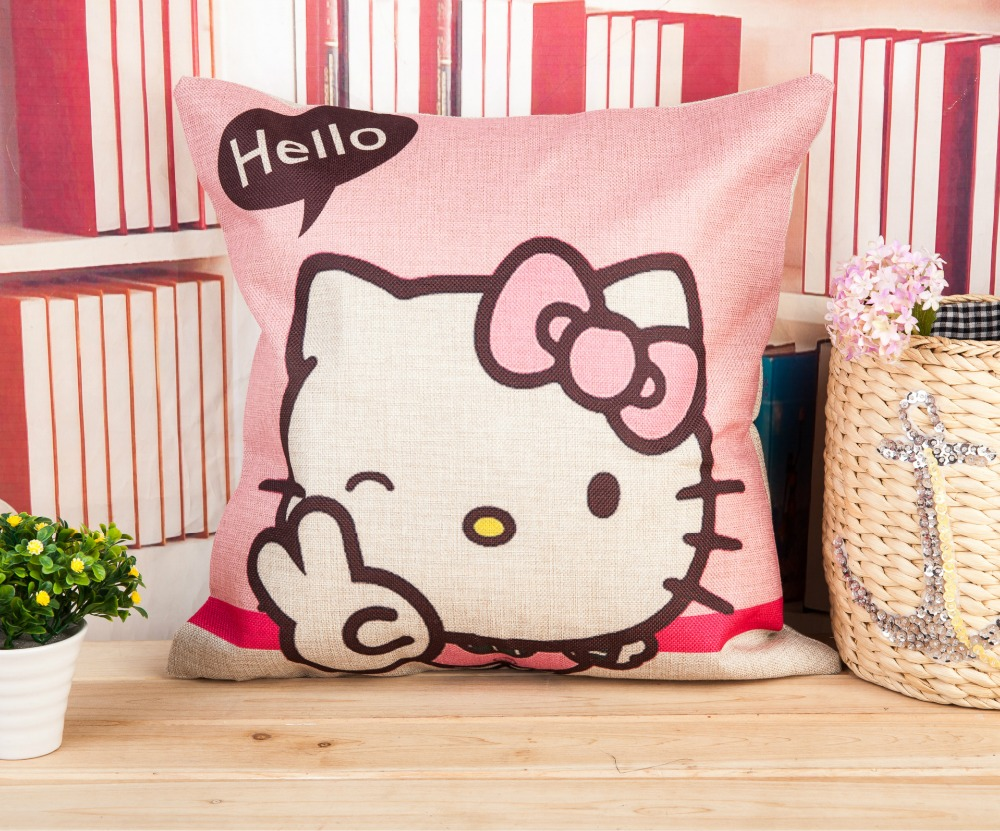 Hello kitty printed cushion europe simplism style cover cotton linen throw pillow case decorative pillow cover