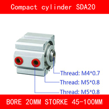 CE ISO SDA20 Cylinder SDA Series Bore 20mm Stroke 45-100mm Compact Air Cylinders Dual Action Air Pneumatic Cylinder Top Grade sda100 5 b free shipping 100mm bore 5mm stroke external thread compact air cylinders dual action air pneumatic cylinder