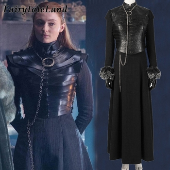 Sansa Stark Dress Cosplay Halloween TV Show Game of Thrones 8 Costume Fancy Superhero Outfit Sansa Stark black leather Armor фото