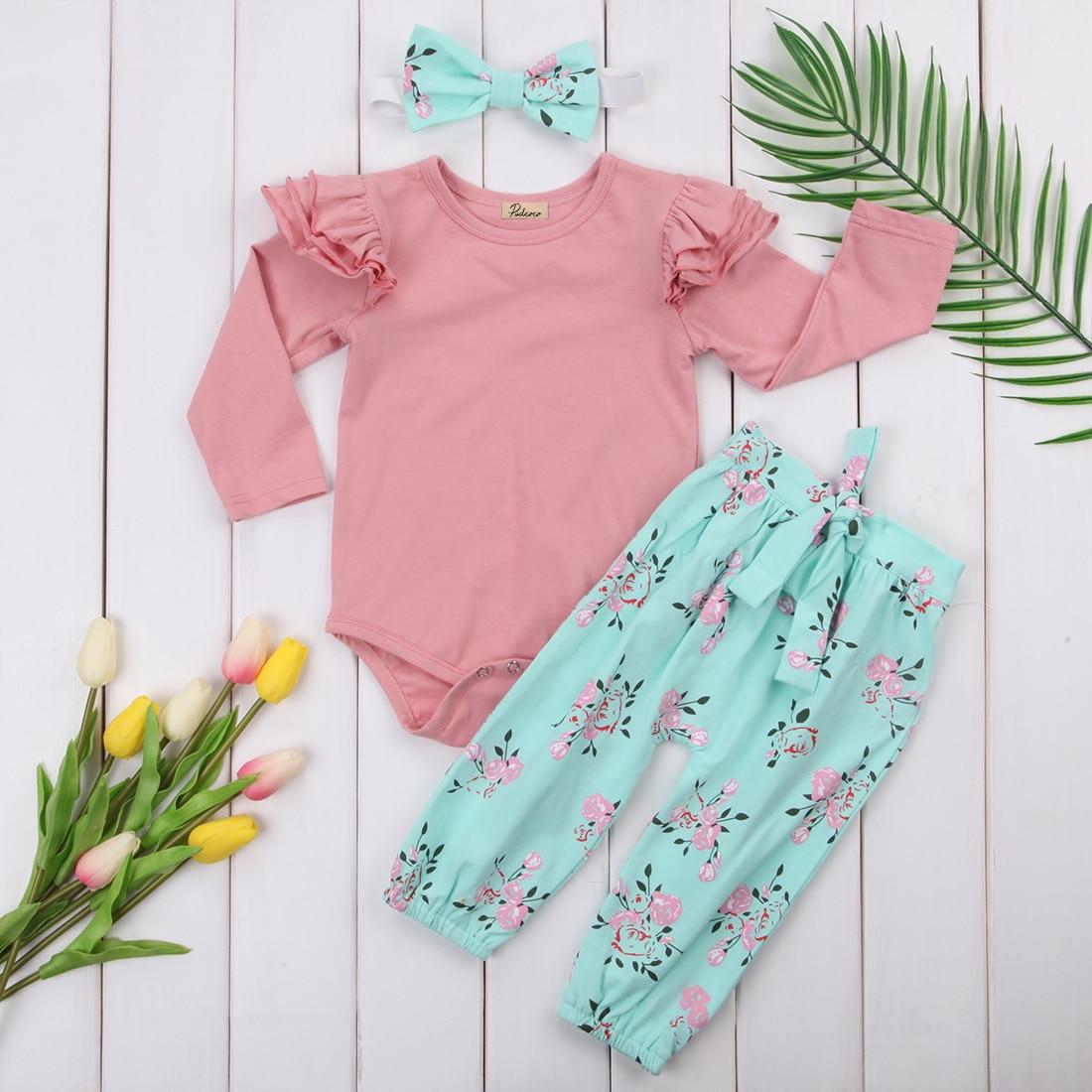 3Pcs Newborn Clothing Cotton Baby Girls Infant Floral Outfits Clothes Ruffles Long Sleeve Bodysuit+Long Pants Kids Clothing Set