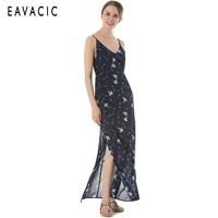 EAVACIC boho dress summer 2019 sexy v neck print dress beach dress vestidos