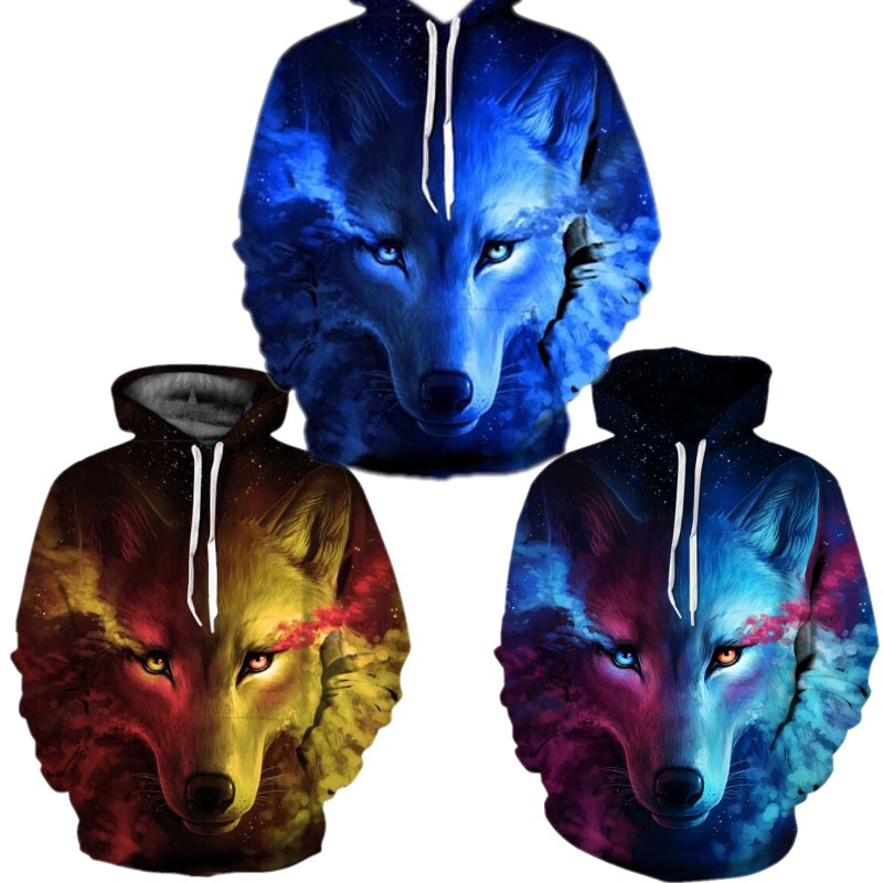 2019 Clothes Hot Hip Hop Men Hoodie Couple Costume Women Hoodies 3D Starry Wolf Head Print Hooded Lovers Coat Clothing