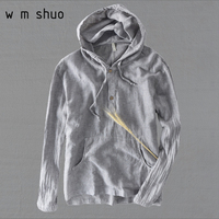 WMSHUO 2018 Summer 100%Linen Hooded Long Sleeve T Shirts Men Casual Loose Solid White T shirts M XXXL Y511
