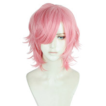 Yarichin chienne Bu Club Ayato Yuri Cosplay perruque cheveux synthétiques rose bouclés perruque Cosplay Halloween jeu de rôle(China)