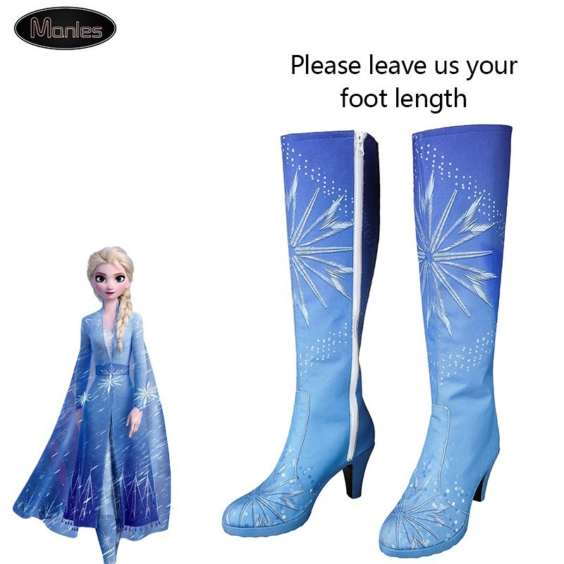 Queen Elsa Costume Snow Ice Princess Anna Froze 2 Costume Cosplay Adult Shoes Boots Halloween Knee-high High Heel Girl Custom
