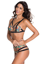 African Print Swimsuit Women 2018 African Print Inspired Bikini Set women strappy Bathing Suit ethic print African Swimwear XL