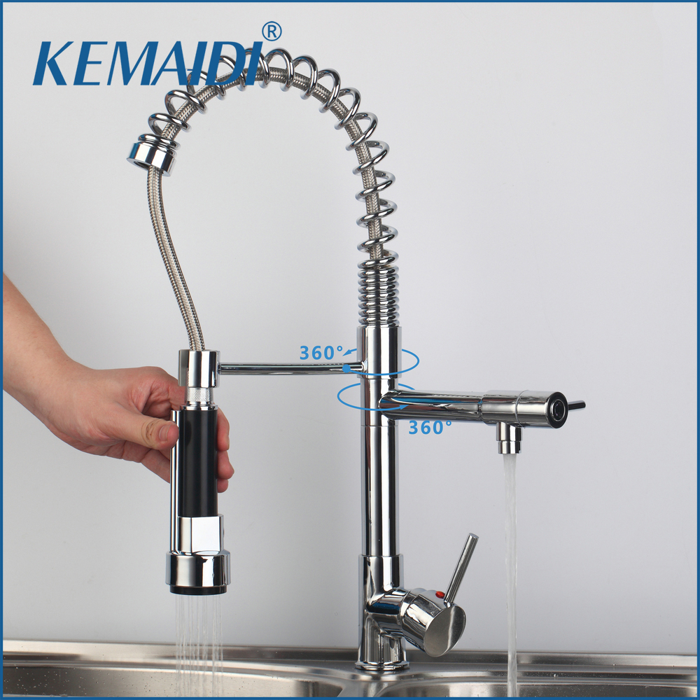KEMAIDI New Arrival Modern Chrome Brass Pull Out Spring Kitchen Faucet torneira 97168/1 Swivel Spout LED Sprayer Hot&Cold Tap chrome shivers new free brass pull out kitchen sink faucet torneira 8555 swivel spout basin deck mounted sprayer hot