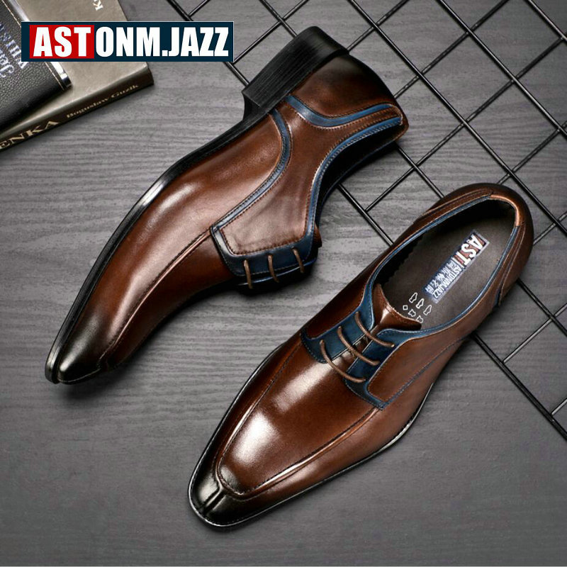 Men's Casual Shoe Business Mens Genuine Leather Shoes Men Big Size 45 Casual Leather Oxford Shoes For Men Lace Up Brogues Formal