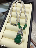 New 425 Silver Natural Green Jade Gourd Pendant 5 Mm Pearl Necklace Natural Pearls Beads Long Necklace