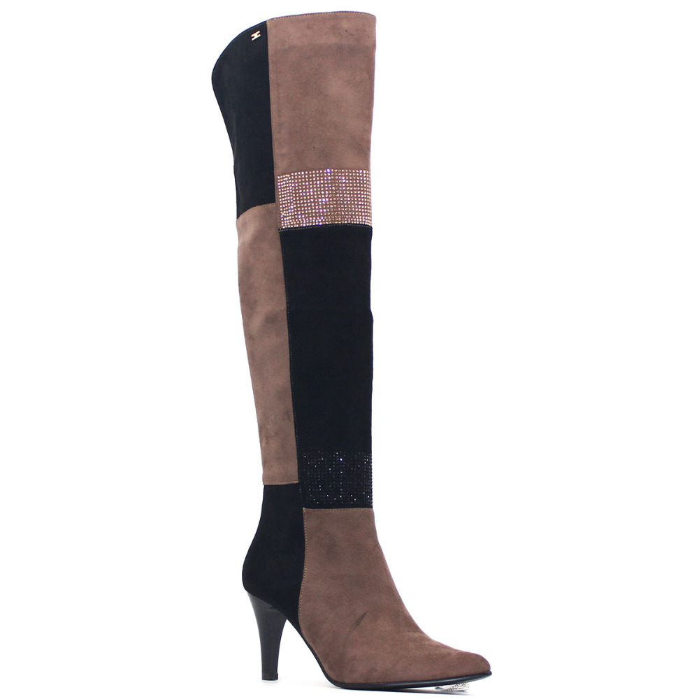 Plaid Sexy Over the Knee Women Thigh High Boots Winter Fashion Bling High Heel Shoes Black Brown Suede Patchwork Stretch Boot superstar flock stretch boots runway fashion winter shoes med heel thigh high boots lace up bowtie women over the knee boots l15
