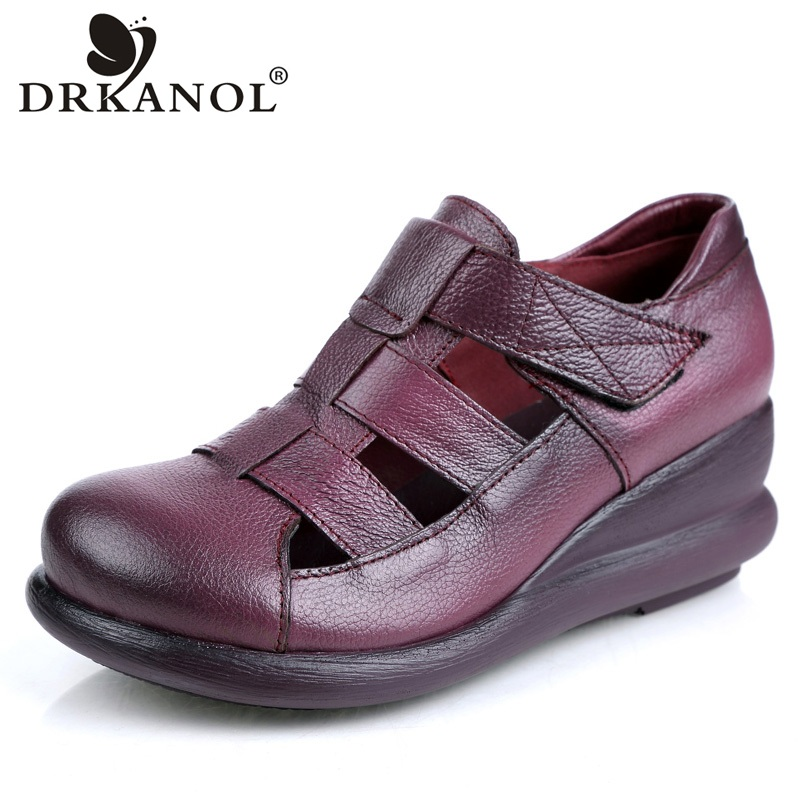 DRKANOL 2018 Summer Women Sandals Genuine Leather Wedge Gladiator Sandals Women High Heel Female Platform Casual Sandal Shoes choudory bohemia women genuine leather summer sandals casual platform wedge shoes woman fringed gladiator sandal creepers wedges