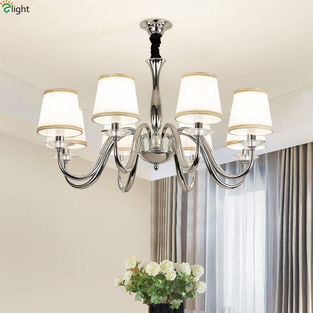 Modern Lustre Chrome Metal Led Peadant Chandelier Lights Dining Room Led Chandeliers  Lighting Bedroom Led Hanging