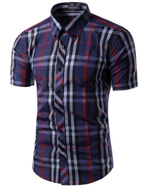 Hombres de la Venta Caliente Del Envío Libre 2016 Nueva Marca de Ropa Mens Slim Fit Plaid Vestido Con Estilo Camisas de Manga Corta Casuales 5989
