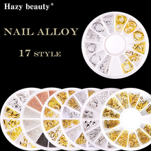 Nail Art Alloy Rivet Studs 3D Decoration silver Gold Circle Star Moon Steel Beads Kit for NAN