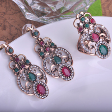 Blucome Green Resin Earrings Ring Set Water Drop Big Size Turkish Jewelry Set Vintage Party Rings