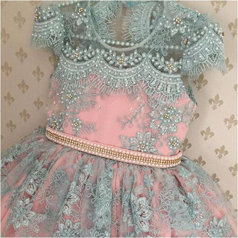Cute Shiny Pearls Appliques Pink Blue Flower Girl Dress long pageant dresses for kids communion Dresses kids Birthday Gowns beautiful pink floral appliques pleated flower girl dress sheer long sleeves floor length kids communion dresses 2 12 year old