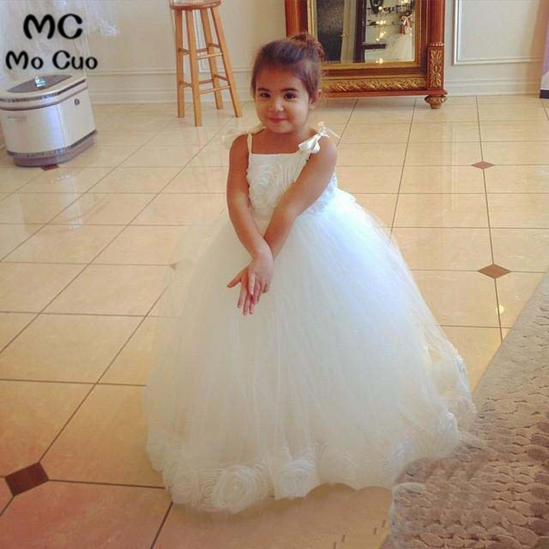 Cute Amazing 2019 Ball Baby Communion   Dresses   For   Girls     Flowers   White Straps   Flower     Girl     Dresses   Baby   Girl   Tutu   Dress