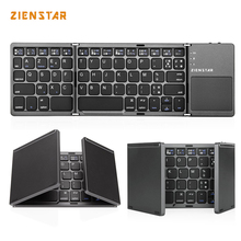 Zienstar AZERTY French Tri-Folding Wireless Bluetooth Keyboard with Ttouchpad for ipad/Iphone/Macbook/PC computer/Android tablet