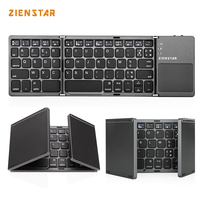 Zienstar AZERTY French Tri Folding Wireless Bluetooth Keyboard With Ttouchpad For Ipad Iphone Macbook PC Computer