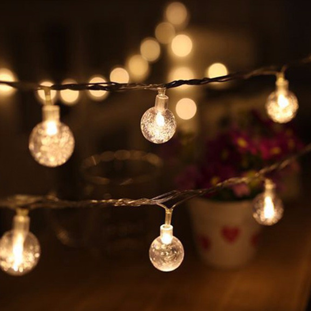 6m 40 LED Globe Bulb String Light Waterproof Crystal Ball String Garland Lights Wedding Party Outdoor Decoration Lighting image