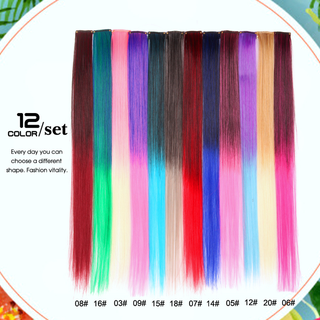 """Alileader 87 Gekleurde Lange Rechte Ombre Synthetisch Haar Extensions Pure Clip In Een Stuk Strips 20 """"Haarstukje Voor Vrouwen"""