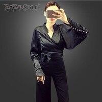 TWOTWINSTYLE Autumn Women's Shirts Blouse Tops Female V Neck Batwing Sleeve Bow Bandage Slim Blouses Women Fashion Clothing 2018