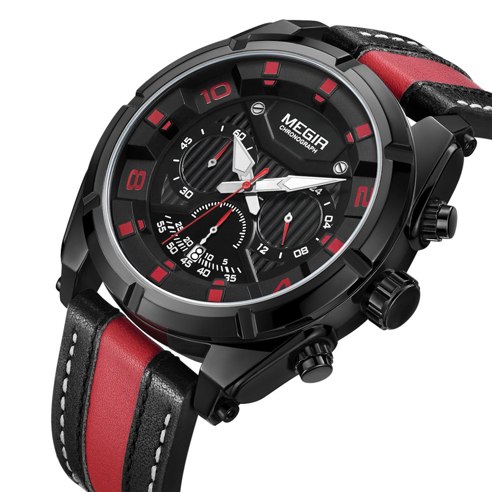 Mode Megir Top Merk Mannen Creatieve Grote Wijzerplaat Luxe Quartz Horloges Waterdichte Sport Horloges mannen Klok Relogio Masculino-in Quartz Horloges van Horloges op title=