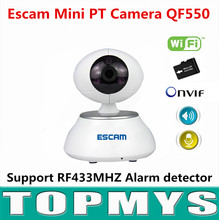 Escam indoor PTZ IP camera QF550 720P P2P Home security camera IR night vision H.264 Onvif mini wireless wifi camera