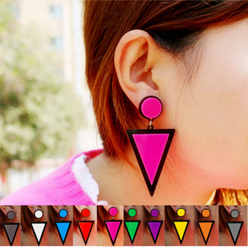Brand Earing Fluorescent Colorful Triangle Earrings Stud Earrings For Women Crystal Pearl Earrings Fashion Jewelry Wholesale